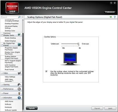 AMD VISION Control Center: Scaling Options (Digital Flat-Panel)